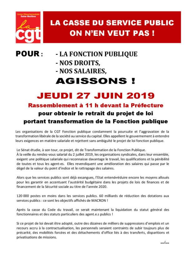 Rassemblement à la Préfecture de ROUEN, le 27 juin 2019 à 11h00, pour la Défense des services publics
